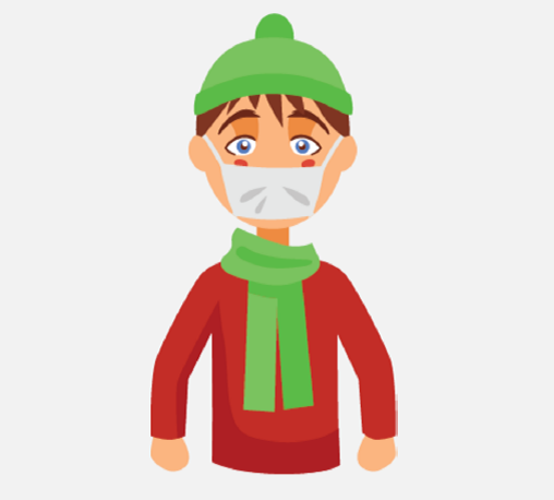 A boy wearing a green hat, green scarf, and a mask over his nose and mouth is shown.