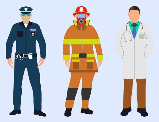 A police officer, a fire fighter, and a doctor standing next to each other.