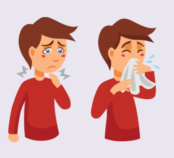 A boy with pain in his throat and sneezing.