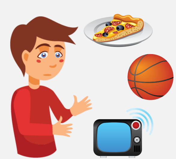 A boy with a neutral expression, looking at a plate of pizza, a basketball, and a TV.