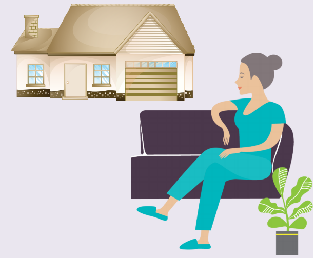 A woman staying at her home on her couch with a plant beside her.