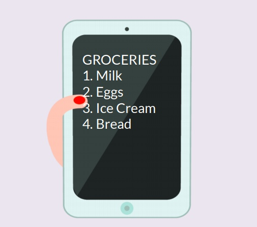 A tablet with a grocery list on the screen.