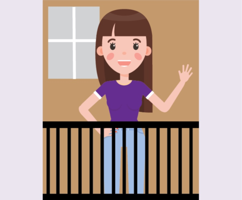 A girl standing on a porch.