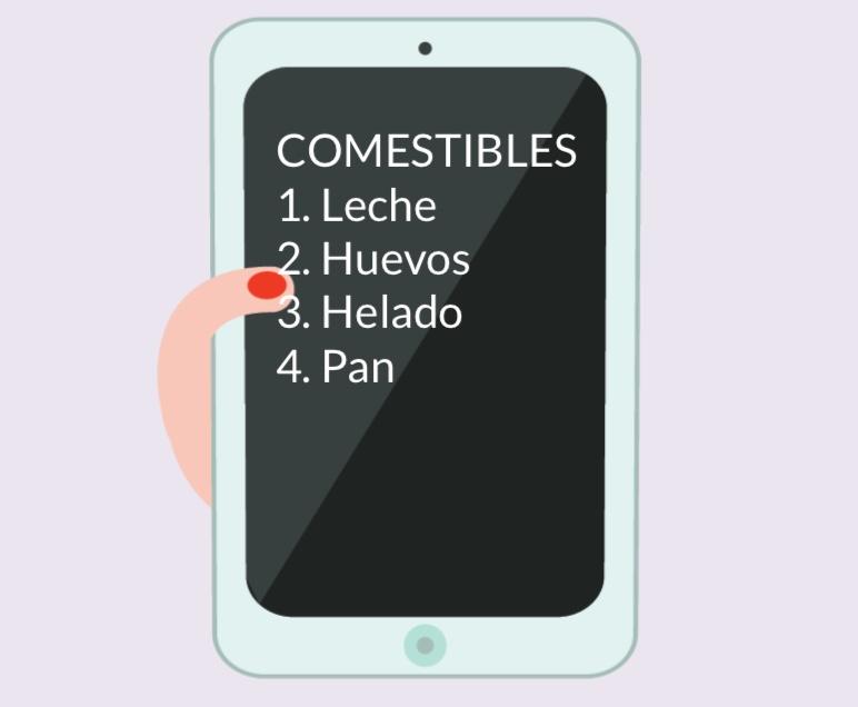 Una tableta con una lista de compras en la pantalla.