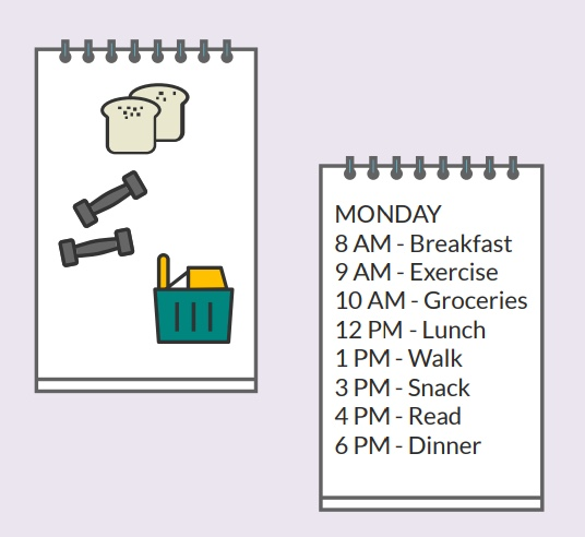 A piece of paper with pictures next to a piece of paper with a written schedule.