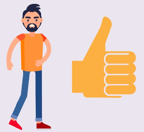 A boy standing next to a thumbs up icon.