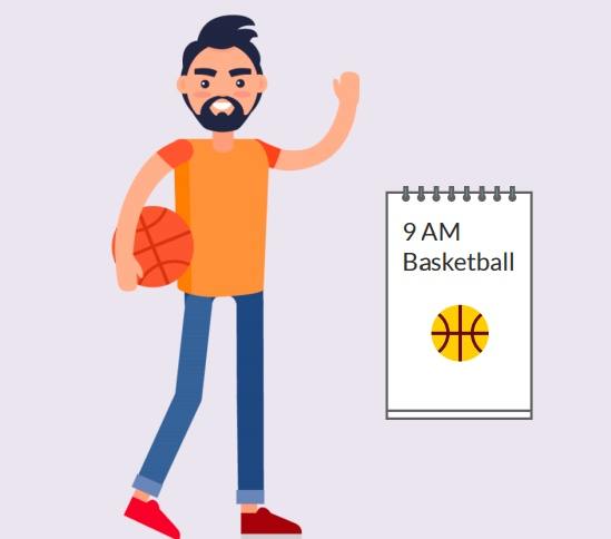 A boy with a basketball next to a paper that says