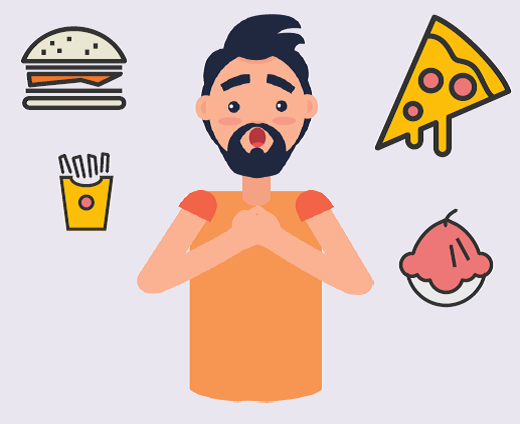 A man with an surprised expression and his hands together at his chest. A burger, fries, ice cream, and pizza slice surround him.