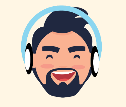 A man with a happy expression wearing headphones.