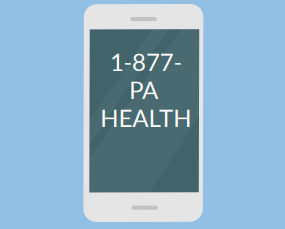 A phone with the number 1-877-PA HEALTH.
