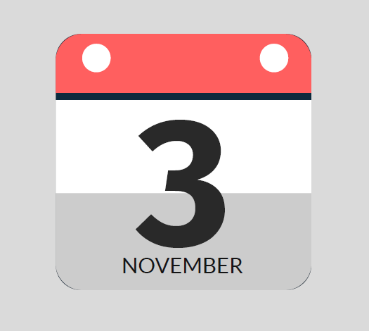 A calendar with the date November 3rd on it.