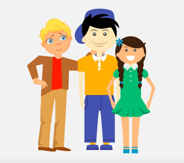 A boy standing next to a boy and a girl.