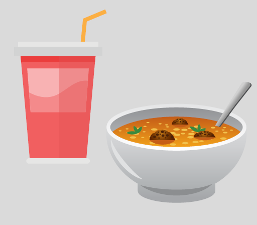 A drink with a straw and a bowl of soup with a spoon.