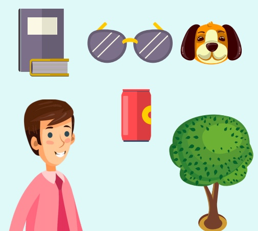 A man under a book, sunglasses, a dog, a soda can, and a tree.