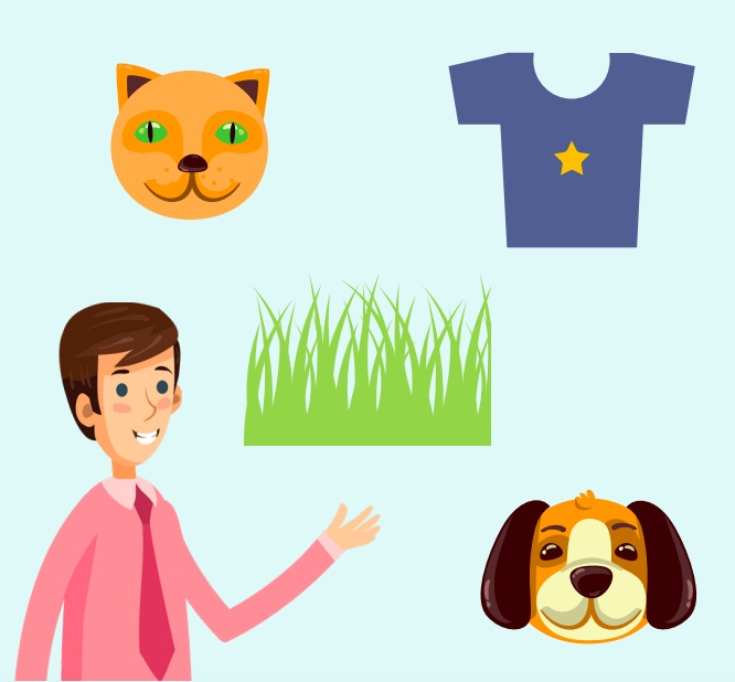 A man under a cat, a t-shirt, grass, and a dog.