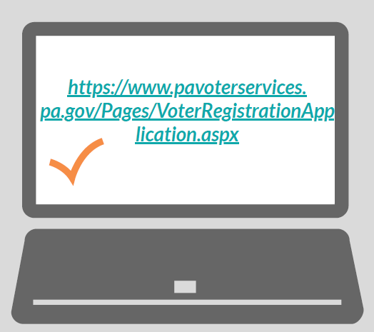 A laptop with the URL 'https://www.pavoterservices.pa.gov/Pages/VoterRegistrationApplication.aspx' and a check mark next to it.
