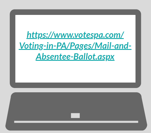A laptop with the URL 'https://www.votespa.com/Voting-in-PA/Pages/Mail-and-Absentee-Ballot.aspx'