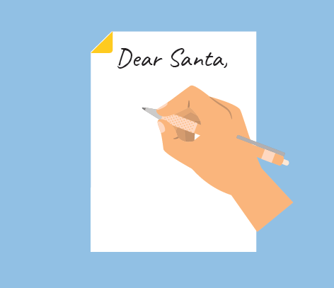 A person writing a letter to Santa.
