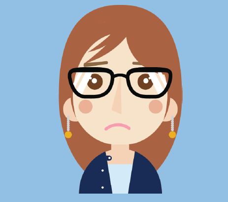A girl with glasses frowning.