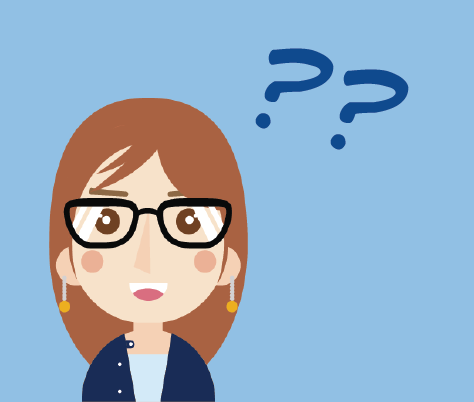 A girl wearing glasses, looking confused with question marks above her head