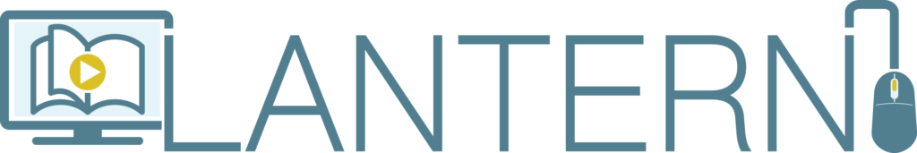 The LANTERN logo with that text next to a computer screen with a book on it