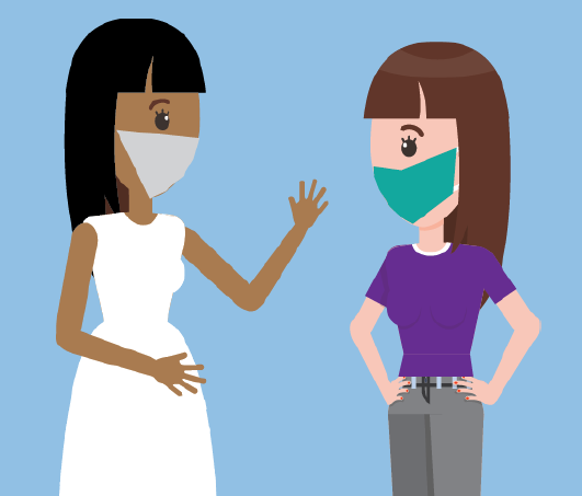 A nurse wearing a mask speaking to a woman wearing a mask.