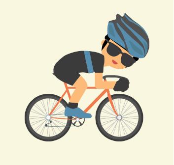 A man rides on his bike.