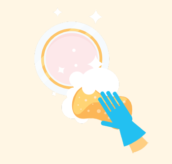 A gloved hand cleans a dish with soap and a sponge until it is completely clean.