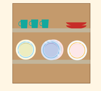 Clean, dry dishes are put away in a cupboard.