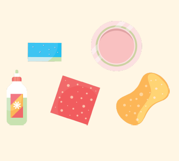 A picture of different sponges, dish soap, and a plate.