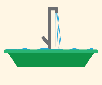 A sink is being filled with water until it is full but not overflowing.