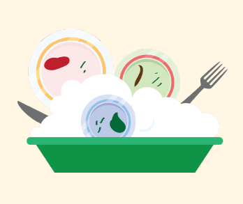 Dirty dishes and cutlery are put into the sink in the soapy water.