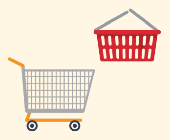 A picture of a shopping basket and shopping cart