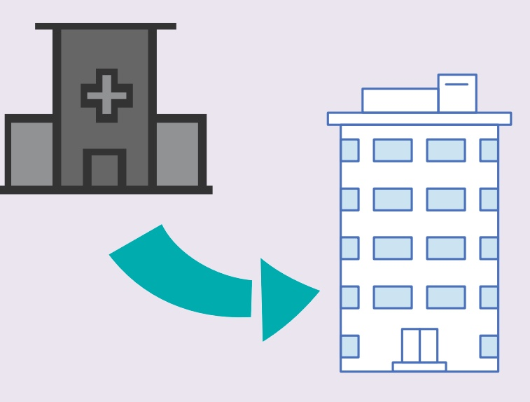 An arrow pointing from an emergency department to a building.