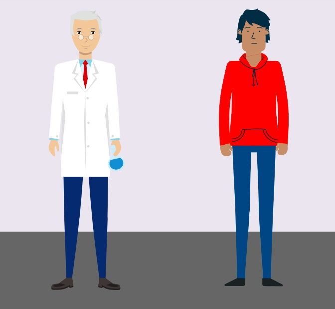 A man standing next to a doctor.