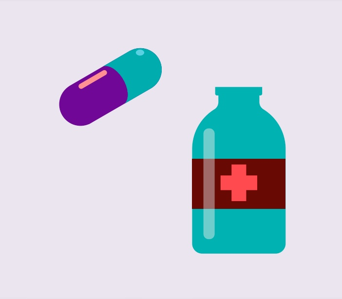 A cartoon rendering of a pill and medicine bottle.