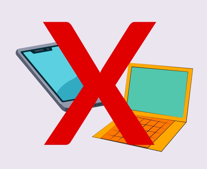 A phone and laptop covered by a red X.