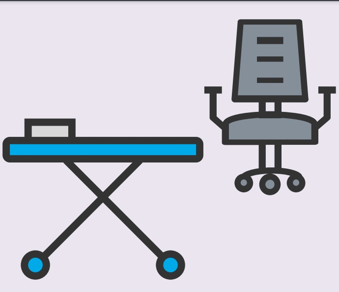 A cartoon rendering of a bed and a chair.