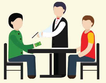 The waiter hands the friend their bill. The friend hands the waiter money to pay for their meal.