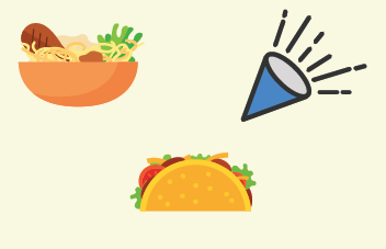 A picture of a bowl of ramen, a taco, and a party horn.