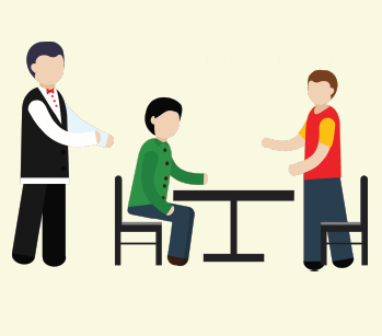 A waiter seats the two friends at a table