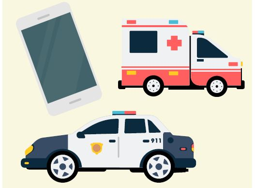 A cell phone, ambulance, and police car.