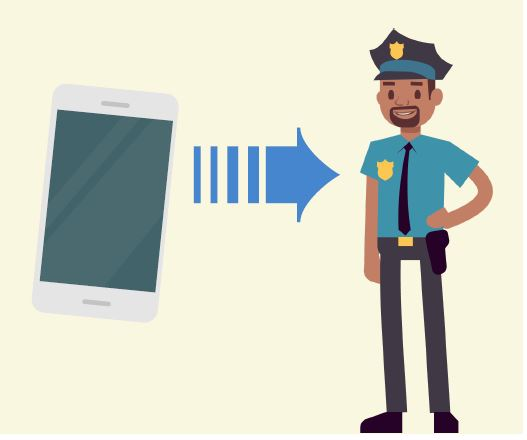 A cell phone next to an arrow pointing to a police officer.