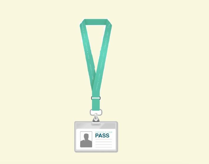 A pass on a lanyard.