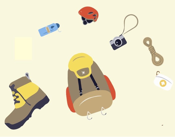 A boot, backpack, water, helmet, camera, rope, and first aid kit.