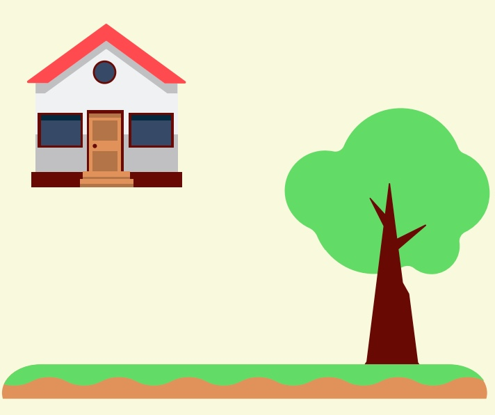 A house and a tree.